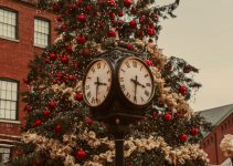 Christmas tree with a clock